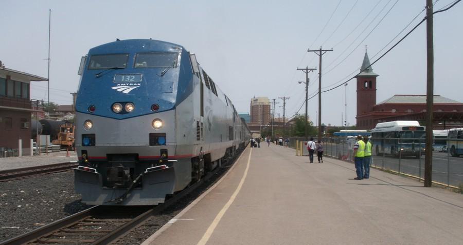 Amtrak train and El Paso depot